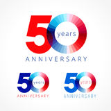 50 years old celebrating colored logo. Anniversary numbers 50 th. Shining congratulating logotype. Greetings celebrates set red, blue, white colors. Stained Stock Illustration