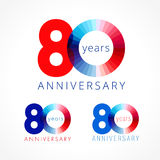 80 years old celebrating colored logo. Stock Photos