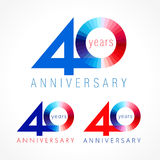 40 years old celebrating colored logo. Anniversary numbers 40 th. Shining congratulating logotype. Greetings celebrates set red, blue, white colors. Stained Stock Illustration