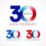 30 years old celebrating colored logo. Anniversary numbers 30 th. Shining congratulating logotype. Greetings celebrates set red, blue, white colors. Stained Stock Photo