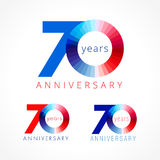 70 years old celebrating colored logo. Anniversary numbers 70 th. Shining congratulating logotype. Greetings celebrates set red, blue, white colors. Stained Royalty Free Stock Images