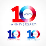 10 years old celebrating colored logo. Anniversary numbers 10 th. Shining facet congratulating logotype. Greetings celebrates set red, blue, white colors Stock Photo