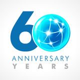 60 years old celebrating connecting logo. Stock Photos