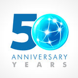 50 years old celebrating connecting logo. Anniversary year of 50 th vector template with volume cosmos 0. Greetings ages celebrates. Technologies Stock Illustration