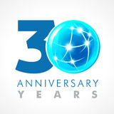 30 years old celebrating connecting logo. Royalty Free Stock Image