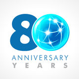 80 years old celebrating connecting logo. Stock Images