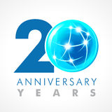 20 years old celebrating connecting logo. Royalty Free Stock Image
