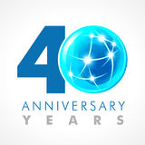 40 years old celebrating connecting logo. Stock Photography