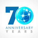 70 years old celebrating connecting logo. Anniversary year of 70 th vector template with volume cosmos 0. Greetings ages celebrates. Technologies Stock Photography