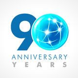 90 years old celebrating connecting logo. Anniversary year of 90 th vector template with volume cosmos 0. Greetings ages celebrates. Technologies Stock Illustration
