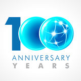 100 years old celebrating connecting logo. Anniversary year of 100 th vector template with volume cosmos 0. Greetings ages celebrates. Technologies Royalty Free Stock Image