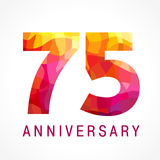 75 years old celebrating fiery logo. Stock Photography