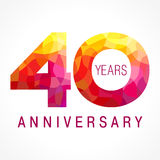 40 years old celebrating fiery logo. Anniversary flamed year of 40 th. Vector congrats flamy 0 numbers. Flaming greetings celebrates with volume. Stained-glass Royalty Free Stock Image