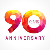 90 years old celebrating fiery logo Stock Photo