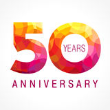50 years old celebrating fiery logo. Anniversary flamed year of 50 th. Vector congrats flamy 0 numbers. Flaming greetings celebrates with volume. Stained-glass Royalty Free Illustration