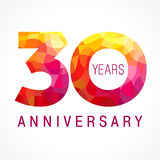 30 years old celebrating fiery logo. Royalty Free Stock Photography