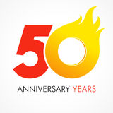 50 years old celebrating fiery logo. Anniversary flamed year of 50 th. Vector template flamy 0 numbers. Happy birthday flaming greetings celebrates. Hot digits Royalty Free Stock Photo