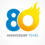 80 years old celebrating fiery logo. Anniversary flamed year of 80 th. Vector template flamy 0 numbers. Happy birthday flaming greetings celebrates. Hot digits stock illustration