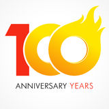 100 years old celebrating fiery logo. Anniversary flamed year of 100 th. Vector template flamy 0 numbers. Happy birthday flaming greetings celebrates. Hot Stock Photography