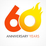 60 years old celebrating fiery logo. Anniversary flamed year of 60 th. Vector template flamy 0 numbers. Happy birthday flaming greetings celebrates. Hot digits stock illustration