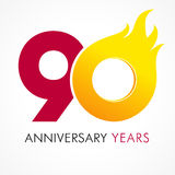 90 years old celebrating fiery logo. Anniversary flamed year of 90 th. Vector template flamy 0 numbers. Happy birthday flaming greetings celebrates. Hot digits Vector Illustration