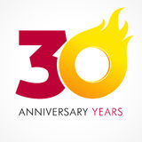 30 years old celebrating fiery logo.. Anniversary flamed year of 30 th. Vector template flamy 0 numbers. Happy birthday flaming greetings celebrates. Hot digits Stock Photo