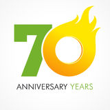 70 years old celebrating fiery logo. Stock Photography