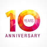 10 years old celebrating fiery logo. Stock Photography