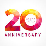 20 years old celebrating fiery logo. Royalty Free Stock Images