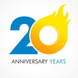 20 years old celebrating fiery logo. Anniversary year of 20 th vector template flamy 0 numbers. Happy birthday flaming greetings celebrates. Hot digits of Stock Photo