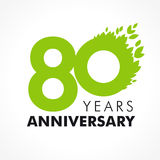 80 years old celebrating green. Flying leaves logo. Anniversary year of 80 th vector template. Birthday greetings celebrates. Environmental protection, natural Stock Image