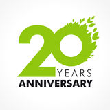 20 years old celebrating green. Flying leaves logo. Anniversary year of 20 th vector template. Birthday greetings celebrates. Environmental protection, natural Stock Image