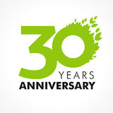 30 years old celebrating green. Flying leaves logo. Anniversary year of 30 th vector template. Birthday greetings celebrates. Environmental protection, natural Stock Photo