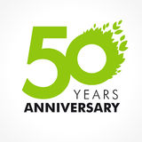 50 years old celebrating green. Flying leaves logo. Anniversary year of 50 th vector template. Birthday greetings celebrates. Environmental protection, natural vector illustration