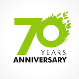 70 years old celebrating green. Flying leaves logo. Anniversary year of 70 th vector template. Birthday greetings celebrates. Environmental protection, natural Royalty Free Stock Images