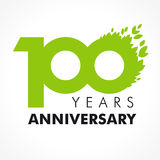 100 years old celebrating green. 100 years celebrating green flying leaves logo. Anniversary year of 100 th vector template. Greetings celebrates. Environmental stock illustration