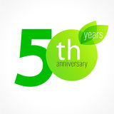 50 years old celebrating green leaves logo. Anniversary year of 50 th vector template. Birthday greetings celebrates. Environmental protection, natural Stock Photos