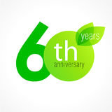 60 years old celebrating green leaves logo. Stock Image