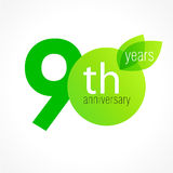 90 years old celebrating green leaves logo. Stock Photography
