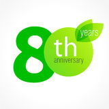 80 years old celebrating green leaves logo. Royalty Free Stock Photo