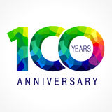 100 years old celebrating logo. 100 years old celebrating colored logo. Anniversary year of 100 th vector template numbers. Happy birthday greetings celebrates Stock Photography