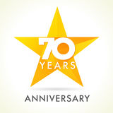 70 years old celebrating star logo. Stock Photography