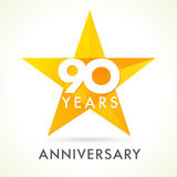 90 years old celebrating star logo. Royalty Free Stock Image
