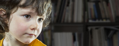 Five years old girl in library Royalty Free Stock Photography