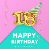 18 years old happy birthday pink girly vector banner with gold balloon 3d numbers. And ribbon Royalty Free Stock Image