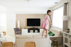 Active girl at home royalty free stock photos