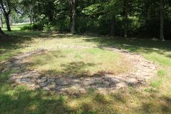 2000 years old Hopewell stone circle at Fort Ancient. Fort Ancient State Memorial is a collection of Native American Earthworks which is located in Ohio Stock Images
