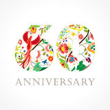60 years old luxurious celebrating folk logo. Template colored happy anniversary greetings, ethnics flowers, plants, paradise flying birds. Set of traditional Stock Images