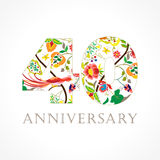 40 years old luxurious celebrating folk logo. Template colored 40 th happy anniversary greetings, ethnics flowers, plants, paradise birds. Set of traditional Stock Photos