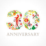 30 years old luxurious celebrating folk logo. Template colored 30 th happy anniversary greetings, ethnics flowers, plants, paradise birds. Set of traditional Royalty Free Stock Photo